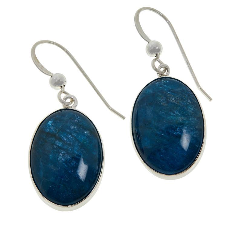 Jay King Sterling Silver Oval Indigo Blue Apatite Drop Earrings