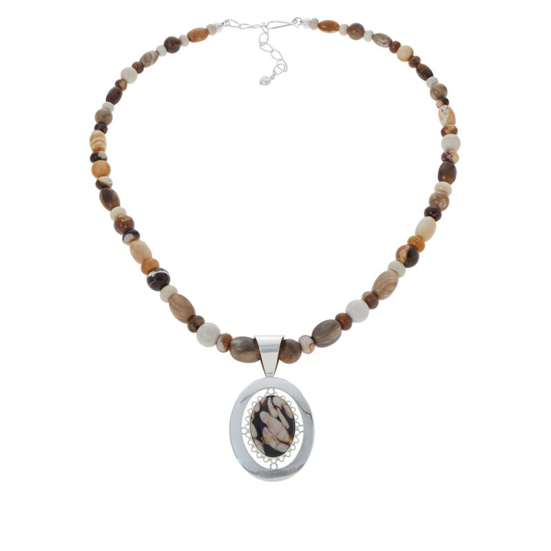 Jay King Sterling Silver Peanut Wood Pendant with Beaded Necklace