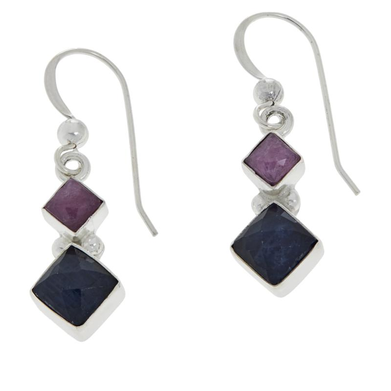 Jay King Sterling Silver Pink and Blue Sapphire Drop Earrings