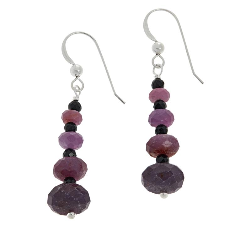 Jay King Sterling Silver Pink Sapphire and Black Spinel Earrings
