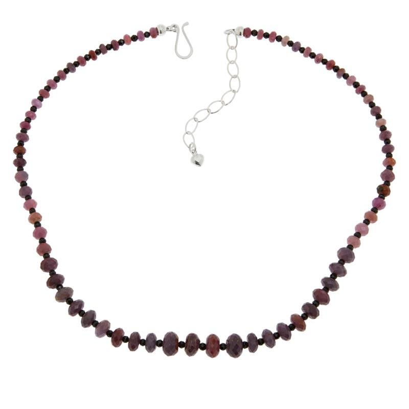 Jay King Sterling Silver Pink Sapphire and Black Spinel Bead Necklace