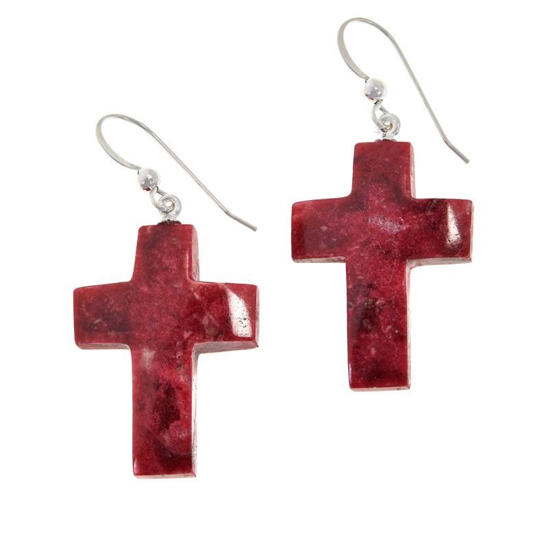 Jay King Sterling Silver Pink Thulite Cross Drop Earrings