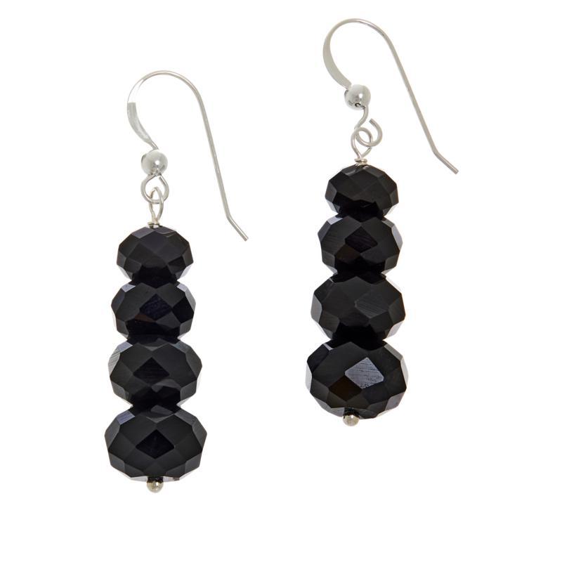 Jay King Sterling Silver Rainbow Obsidian Bead Drop Earrings