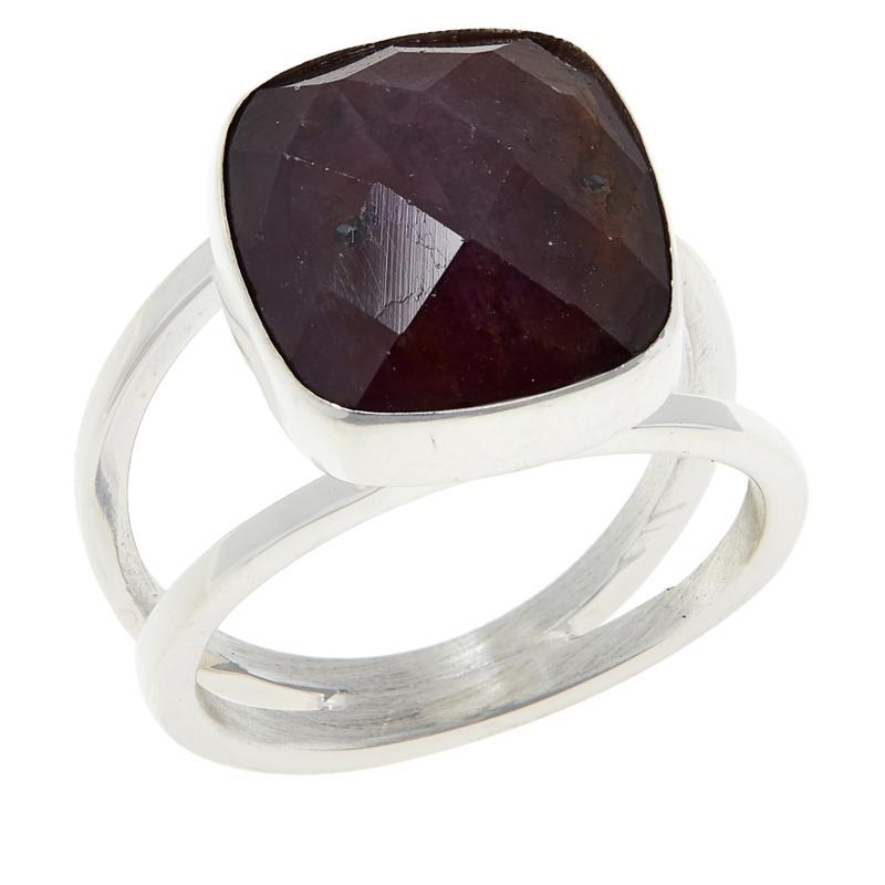 Jay King Sterling Silver Raspberry Sapphire Cushion-Cut Ring