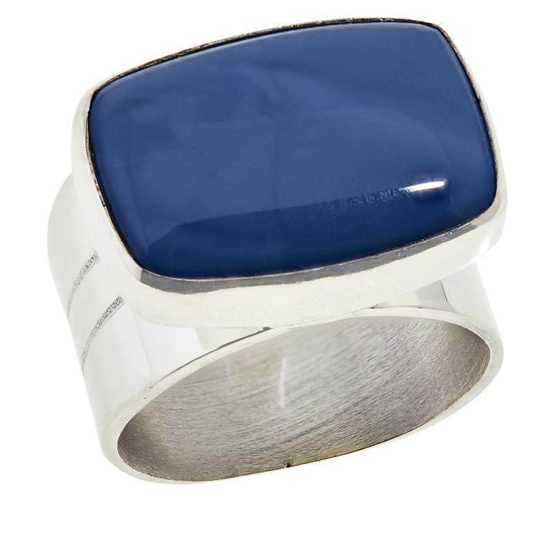 Jay King Sterling Silver Rectangular Dream Blue Opal Ring
