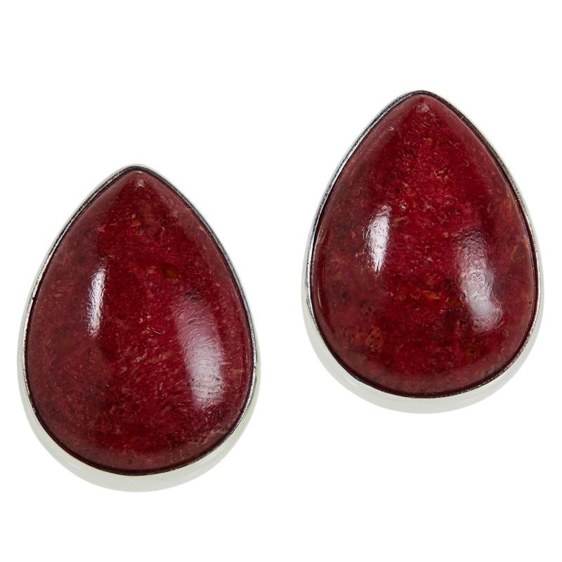 Jay King Sterling Silver Red Coral Pear-Shape Stud Earrings