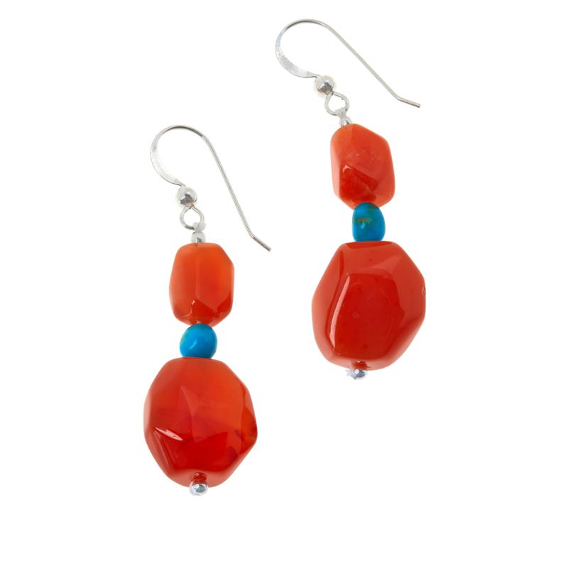 Jay King Sterling Silver Red-Orange Chalcedony and Turquoise Earrings