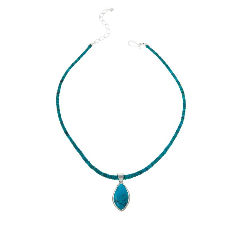 Jay King Sterling Silver Red Skin Turquoise Pendant with Necklace