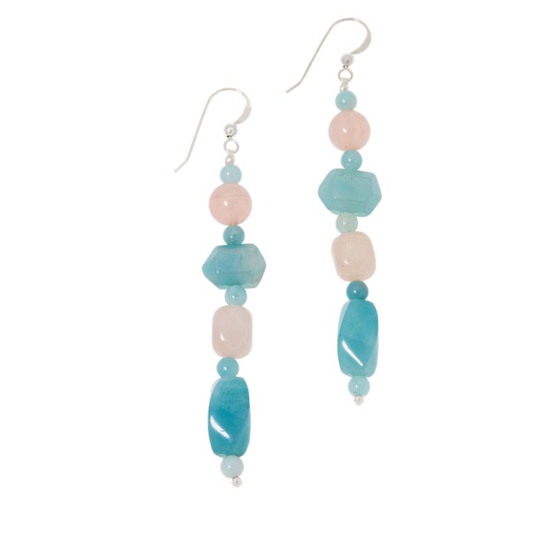 Jay King Sterling Silver Rose Quartz and Blue Quartzite Drop Earrings