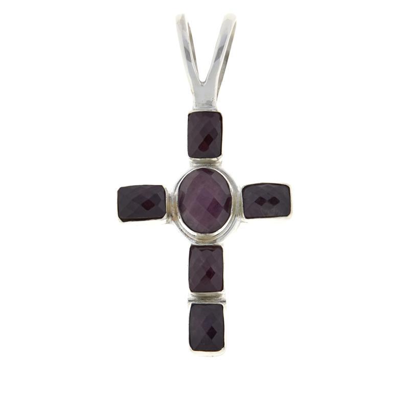 Jay King Sterling Silver Ruby Cross Pendant