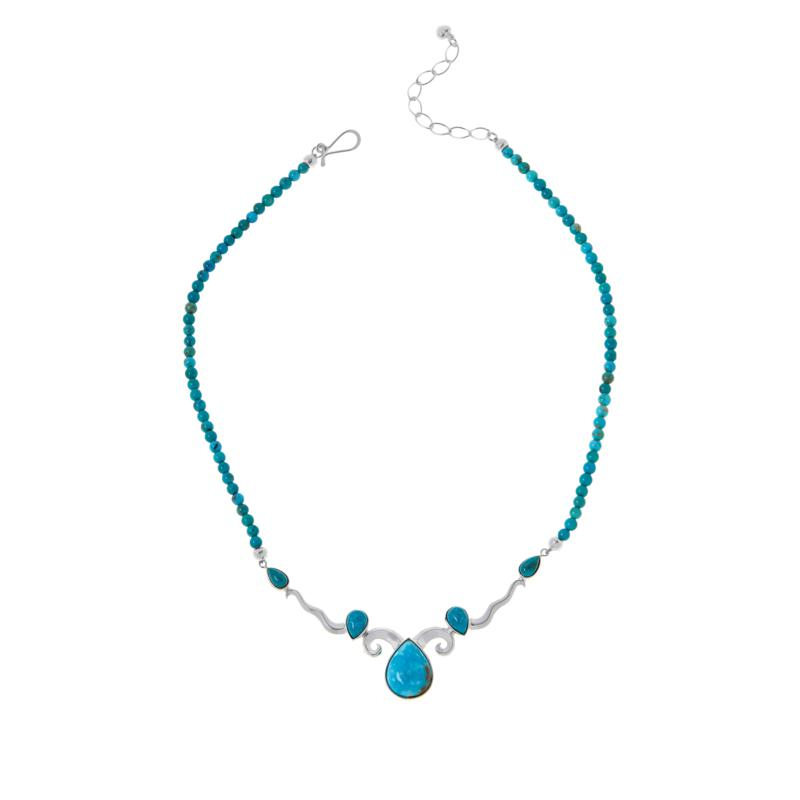 Jay King Sterling Silver Sonoran Blue Turquoise Beaded Drop Necklace