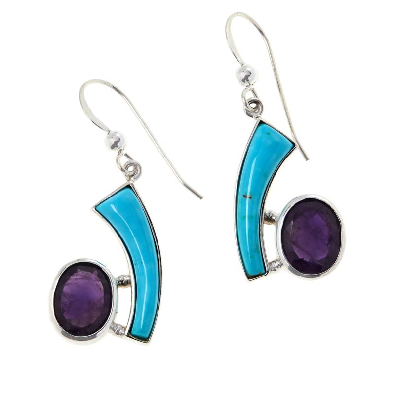 Jay King Sterling Silver Sonoran Turquoise and Amethyst Earrings