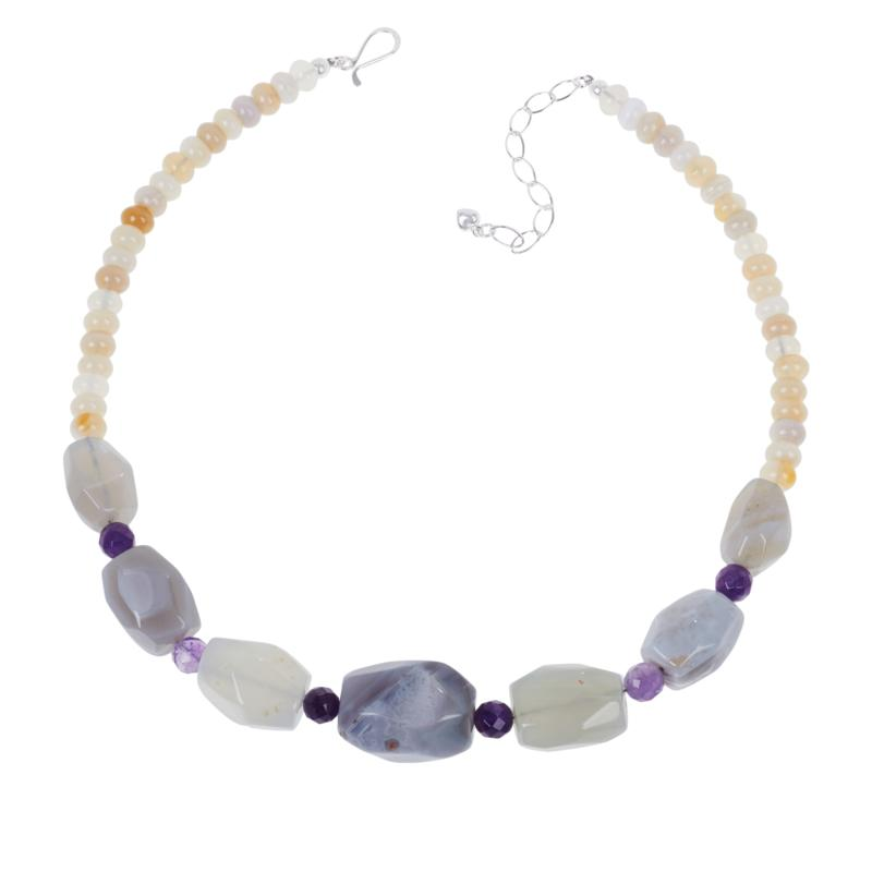 Jay King Sterling Silver Striped Agate and Amethyst Necklace