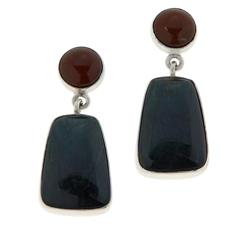 Jay King Sterling Silver Swamp Bog Stone and Petrified Wood Earrings