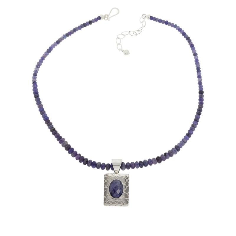 """Jay King Sterling Silver Tanzanite Pendant and 18"""" Beaded Necklace"""