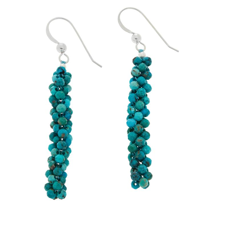 Jay King Sterling Silver Turquoise Hill Turquoise Woven Bead Earrings