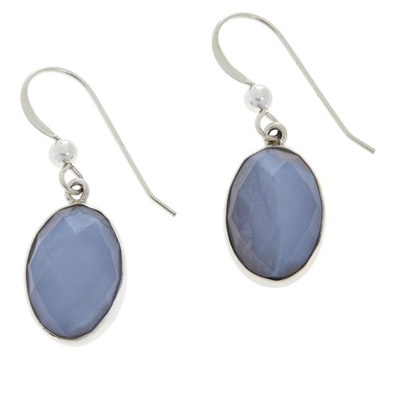 Jay King Sterling Silver Violet Chalcedony Oval Drop Earrings