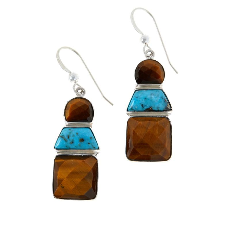 Jay King Tiger's Eye and Andean Turquoise Drop Earrings
