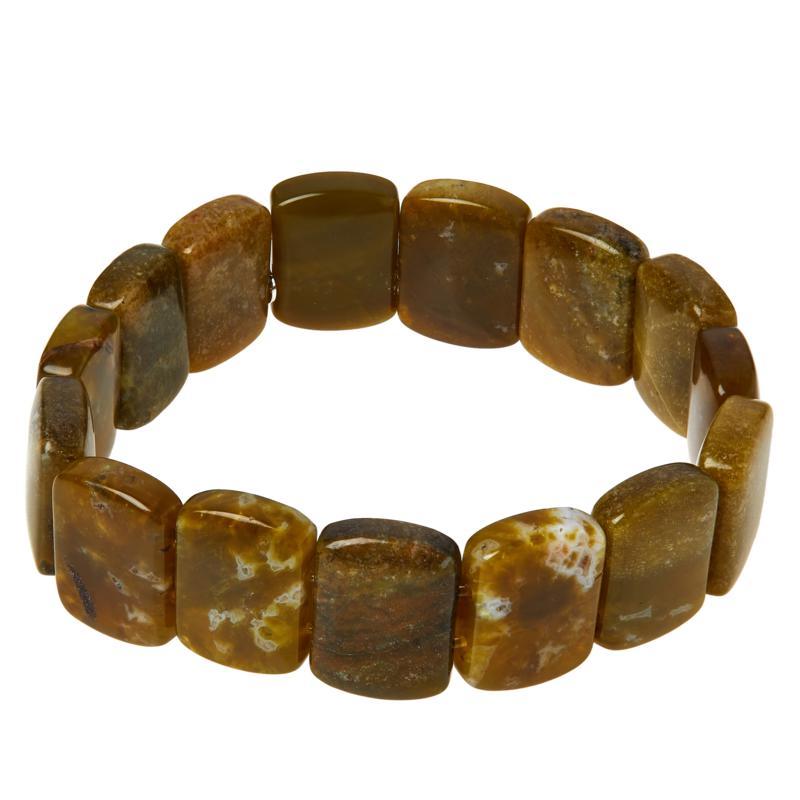 Jay King Volcanic Green Opal Bead Stretch Bracelet