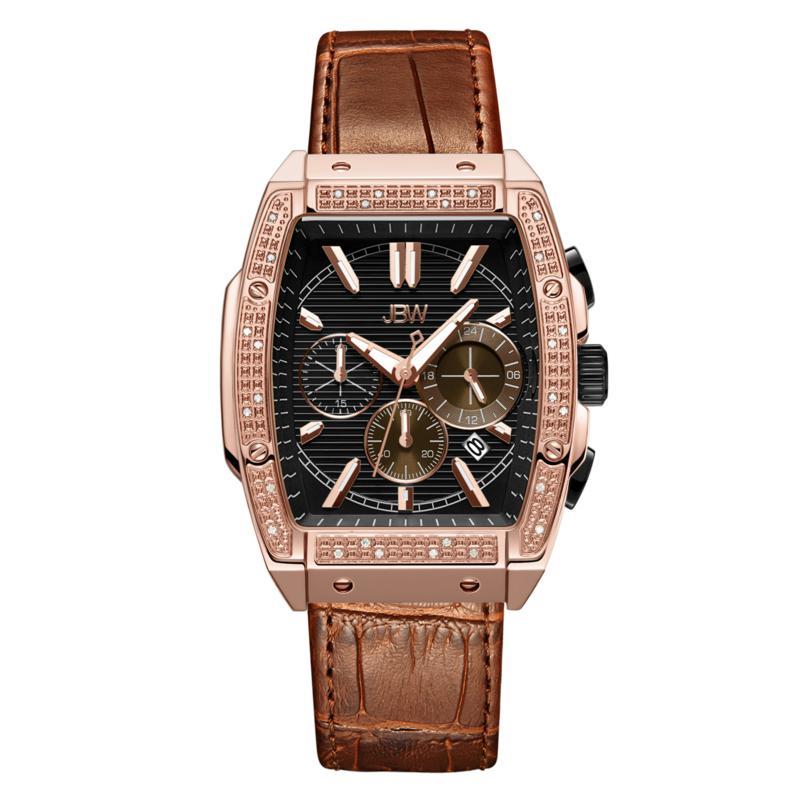 "JBW  ""Echelon"" Men's Rosetone .28ctw Croco-Embossed Leather Watch"