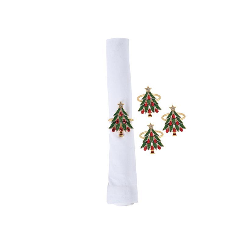 Jeweled Tree Napkin Ring 4-Pack