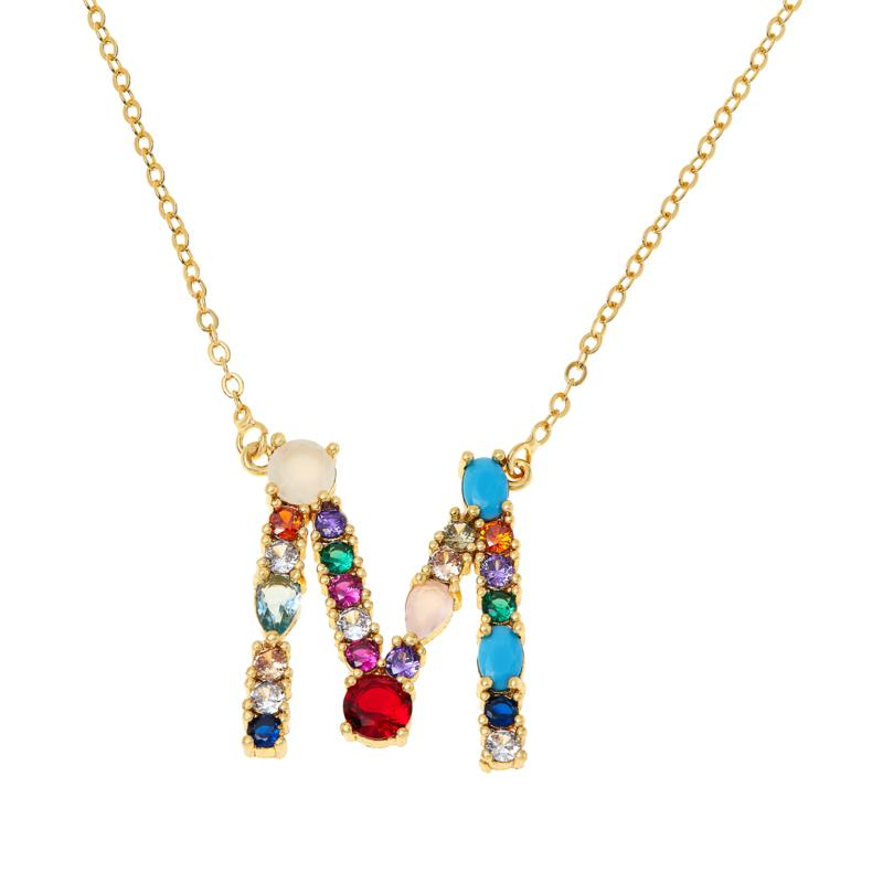 "JK NY 18"" Goldtone Multi-Color Initial Pendant Necklace"