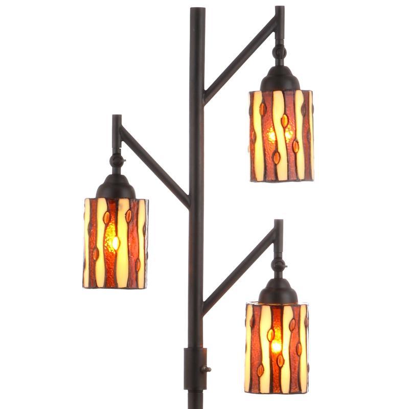 "JONATHAN Y Bronze Clark 71"" Tiffany-Style Multi-Light LED Floor Lamp"