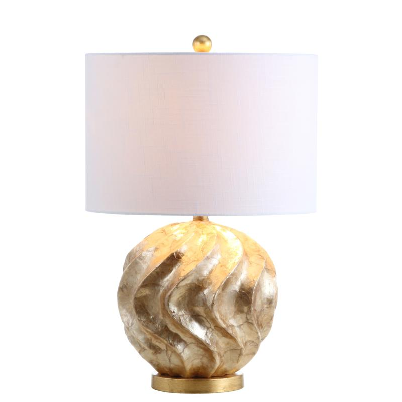 """JONATHAN Y Brown Gold Versailles 24"""" Sphere Sea Shell LED Table Lamp"""