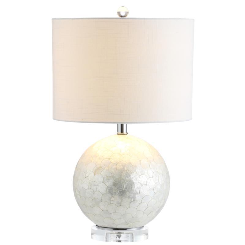 "JONATHAN Y Pearl White Zuri 23.5"" Capiz Seashell Sphere LED Table Lamp"