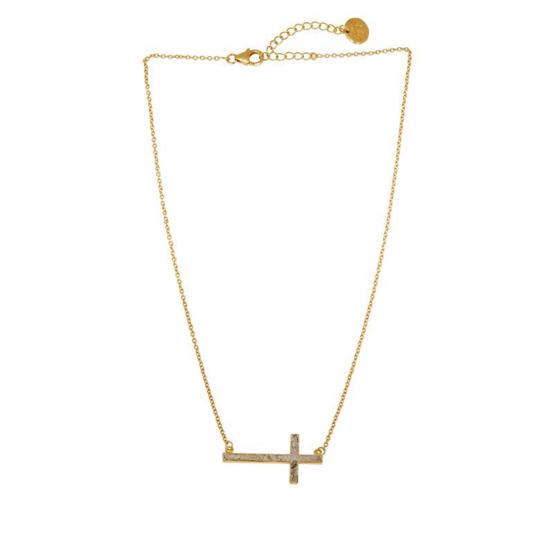 Joya Deco Crushed Diamond Shard Sideways Cross Necklace