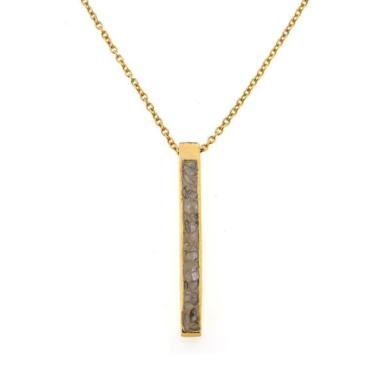 Joya Goldtone Sterling Silver Crushed Diamond Deco Drop Necklace