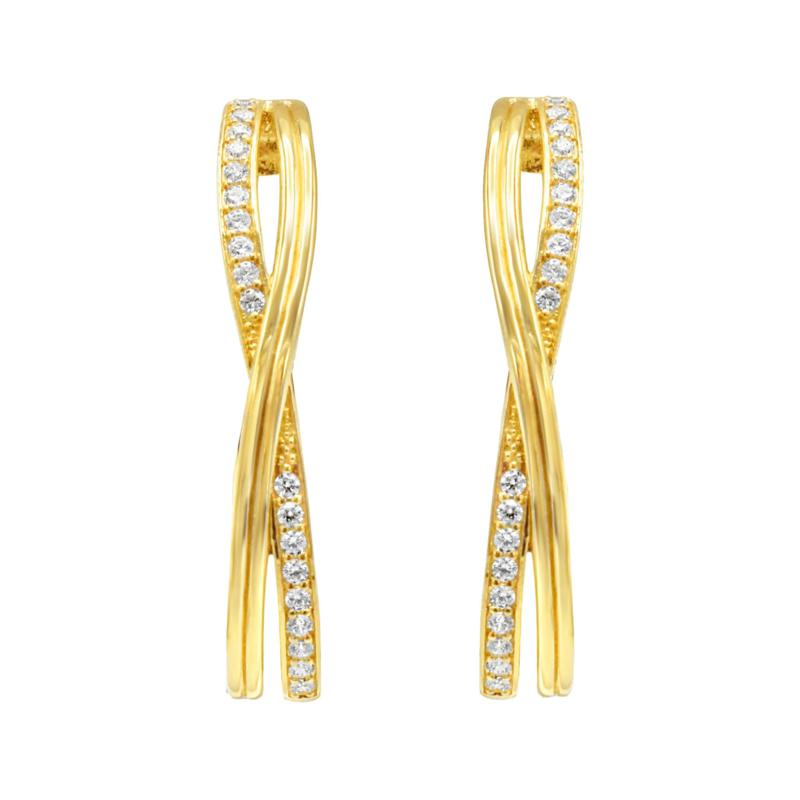 Judith Ripka 14K Gold-Clad Diamonique® Crossover Hoop Earrings