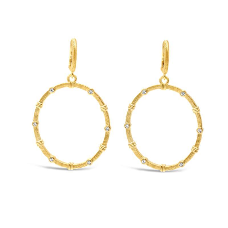 Judith Ripka 14K Gold-Clad Diamonique® Drop Hoop Earrings