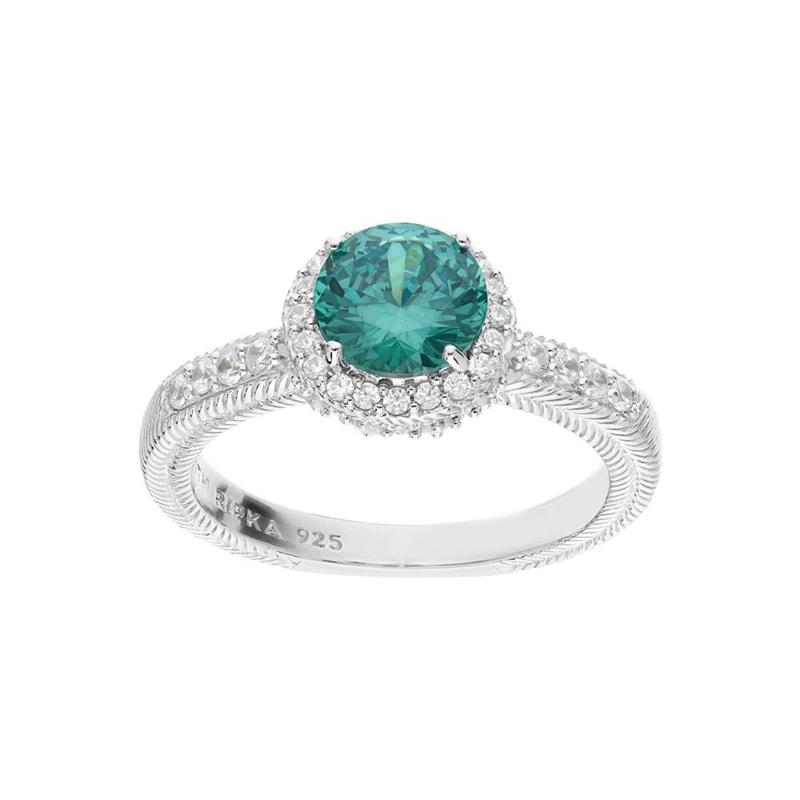 Judith Ripka Simulated Paraiba and Diamonique® Halo Ring