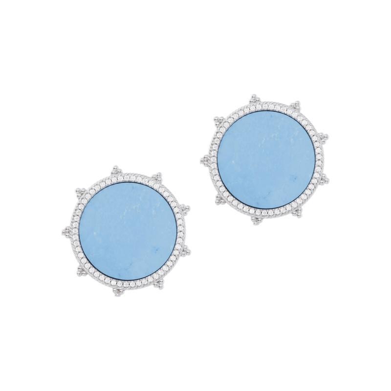 Judith Ripka Sterling Silver Gemstone and Diamonique Earrings