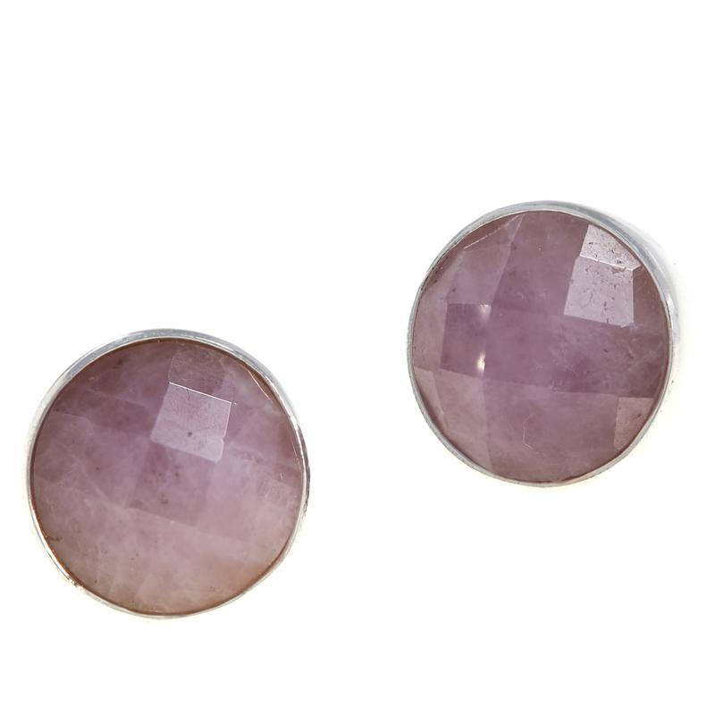 King Sterling Silver Pale Pink Kunzite Stud Earrings