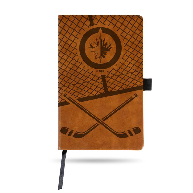 Laser-Engraved Brown Notepad with Elastic Band - Jets