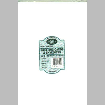Leader A7 Greeting Cards W/Envelopes (5.25X7.25) 50/Pkg - White