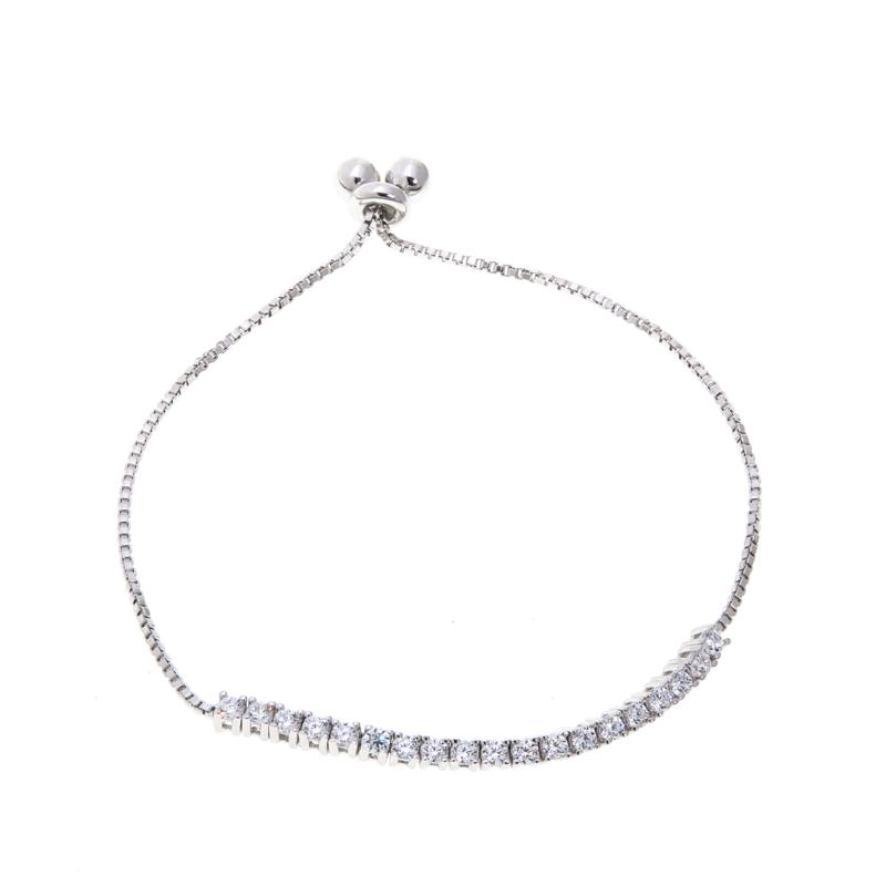 Lily Nily Girl's 1.14ctw Clear CZ Sterling Silver Adjustable Bracelet