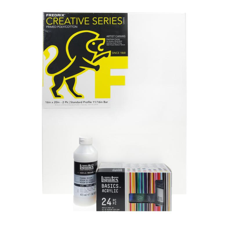 Liquitex Acrylic Paint Pouring Value Set with Fredrix Canvas