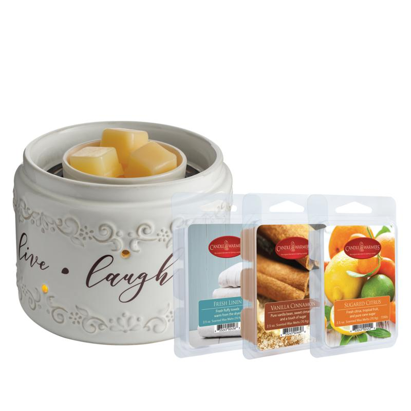 Live Laugh Love Fan Fragrance Warmer with 3 Wax Melts