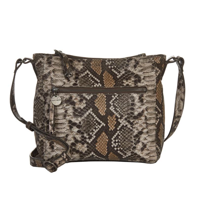 Lucky Eddo Snake-Print Leather Crossbody Bag