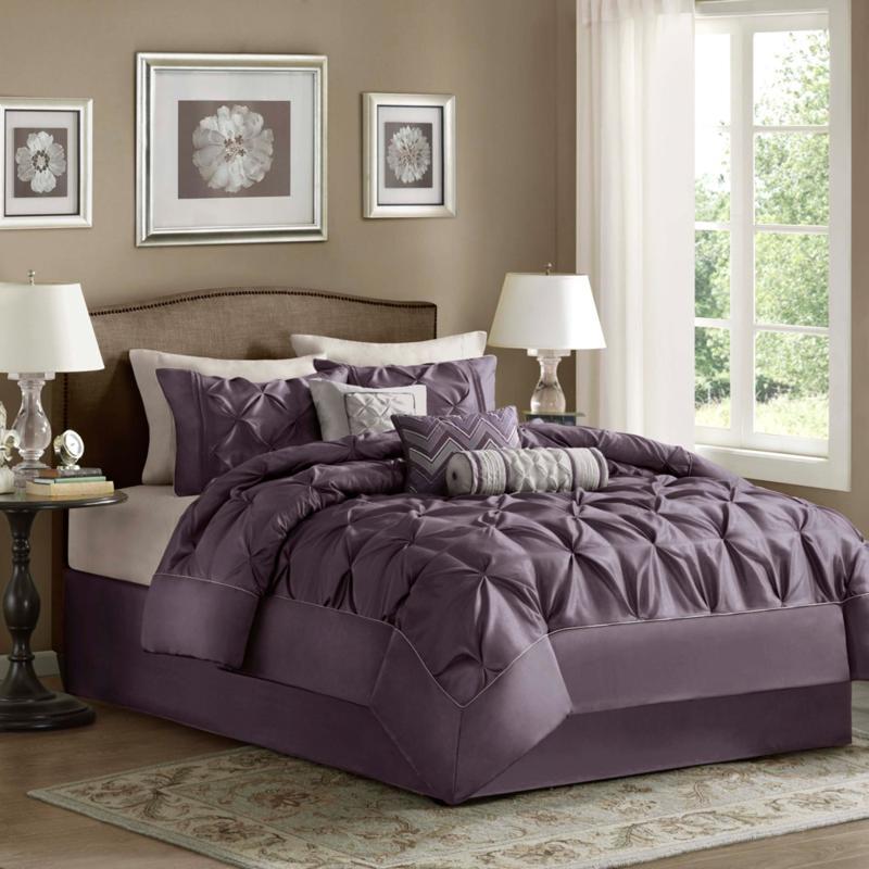 Madison Park Laurel Comforter Set Queen Plum