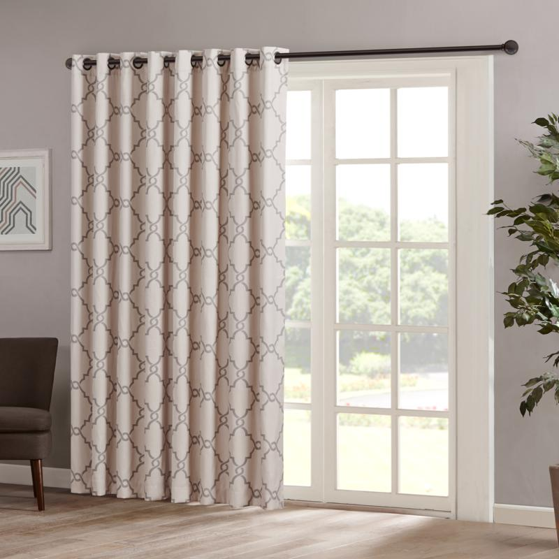 "Madison Park Saratoga Fretwork Patio Curtain-Beige-100""x84"""