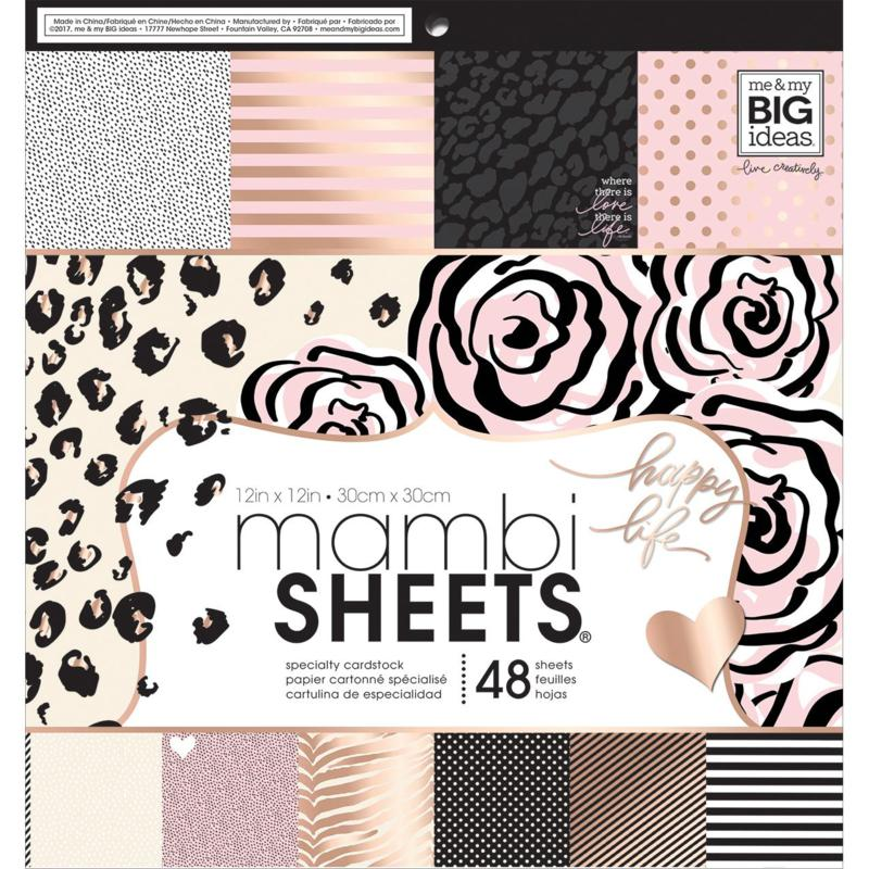 Mambi Single-Sided Paper Pad 12 x 12 48-pack - Black, White and Rose