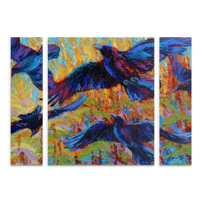 """Marion Rose """"Crows 6"""" Multi-Panel Art Set - 24"""" x 32"""""""