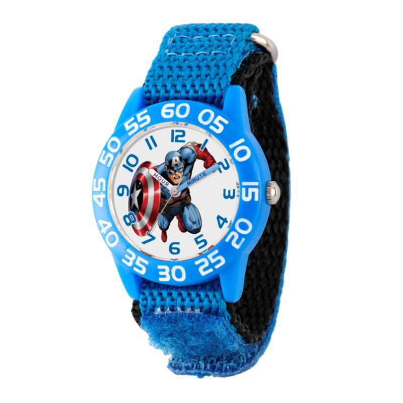 Marvel Captain America Kid's Blue Time Teacher Watch w/ Nylon Strap