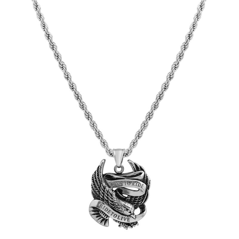 """Men's Stainless Steel """"Live to Ride"""" Eagle Pendant with Chain"""