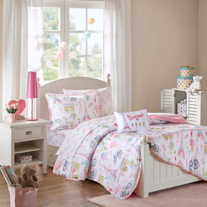 Mi Zone Kids Bonjour Complete Bed and Sheet Set Pink Full