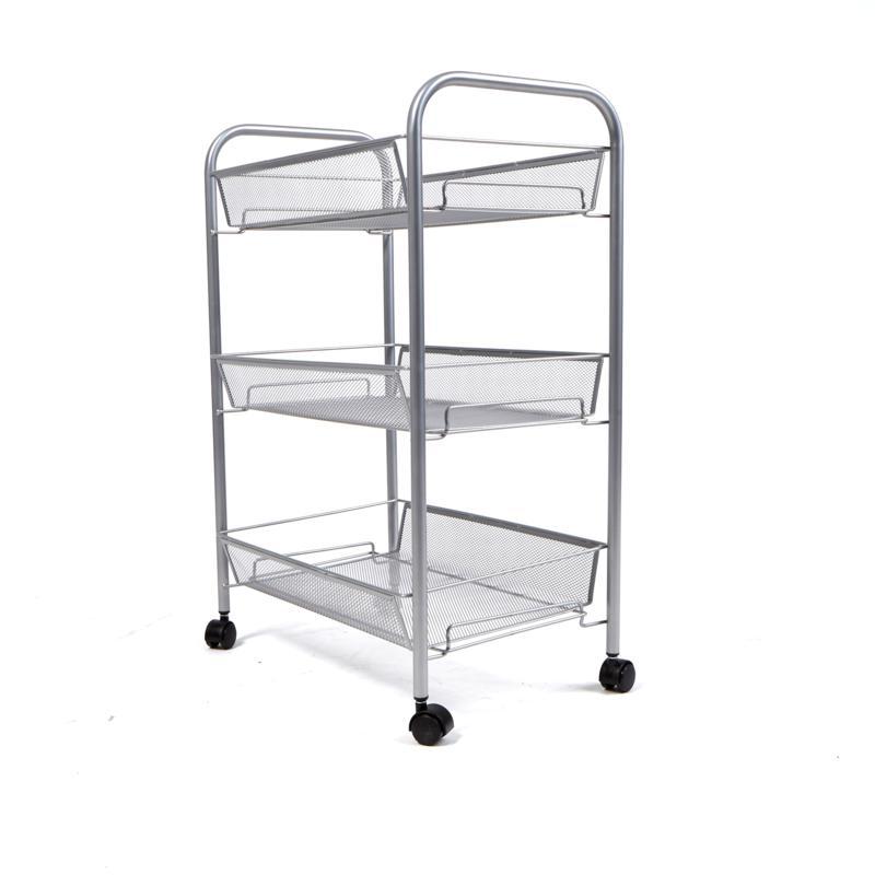 Mind Reader 3-Shelf Metal Mesh Rolling Cart - Silver
